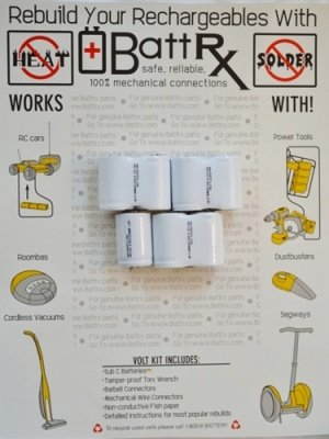 8.4V NiCad 1200 MAH 4/5 Sub C Rechargeable Battery Repair Kit